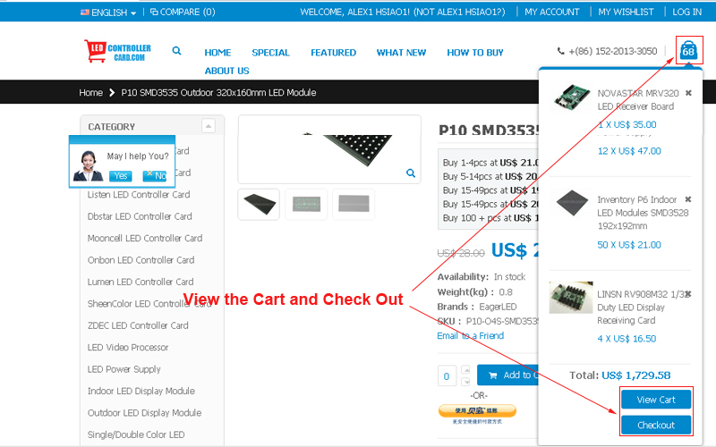 ledcontrollercard.com how to buy- view cart or go to check